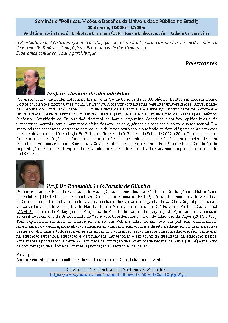 Seminário: Politicas, Visões e Desafios da Universidade Pública no Brasil